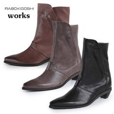RABOKIGOSHIworksブーツラボキゴシワークス靴1284ショートブーツインヒールポインテッドトゥ