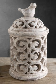 """14"""" Ceramic Cutout Candleholder $15     14.25"""" tall x 8"""" wide   bird on top the lid  inside is 6.5"""" wide   base is 8"""" wide   lid is 5"""" tall x 7"""" wide  http://www.save-on-crafts.com/candleholders30.html"""