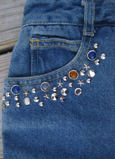 80s STUDS n STONES PUNK era jeans, 1980's studded, rhinestone blue American made high waisted denims