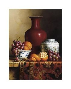 Handmade oil painting reproduction of Loran Speck Oriental Still Life I - on canvas and available in any size or choose another work from more than different oil paintings and 6000 artists. The highest quality paintings and great customer service! Still Life Drawing, Still Life Oil Painting, Still Life Art, Still Life With Fruit, Fruit Painting, Oil Painting Flowers, Realistic Oil Painting, Oil Painting For Beginners, Painting Lessons