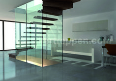 structural glass stairs with glass walls, floating stair design, custom design for commercial and residential buildings http://www.sillertreppen.com/en/siller-stairs/