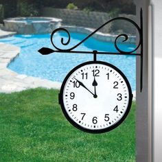 Amazon.com: Poolmaster 52608 Outdoor Dual Sided Hanging Clock, 14-Inch Wide by 18-Inch High, Black Finish: Patio, Lawn & Garden