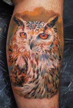 Owl tattoo by Dmitriy Samohin #InkedMagazine #Bird #owl #tattoo #tattoos #inked #ink