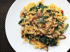 One Pot Skillet Pasta with Mushrooms, Pancetta, and Wilted Greens