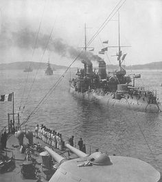 French pre-dreadnought battleship Bouvet in the Dardanelles straights, March 1915.  She was sunk after a mine strike shortly afterwards (photo elsewhere).