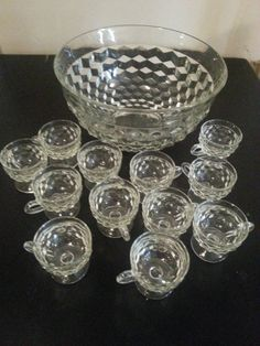 Vintage Indiana Colony Whitehall Faceted Glass Punch Bowl Set 12 Footed Cups