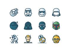 Star Wars Filled Icons #theforceawakens