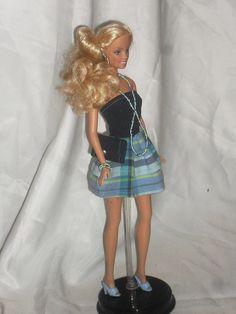 Barbie Doll Clothes  Denim and Plaid Ruffle by NiteBabyDollWorld,
