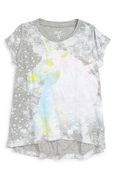 Flowers by Zoe 'Splatter Unicorn' High/Low Graphic Tee (Little Girls)