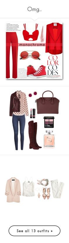 """""""Omg..."""" by aveeve ❤ liked on Polyvore featuring MaxMara, Hebe Studio, Converse, ZeroUV, monochrome, red, Rimmel, Gucci, Yves Saint Laurent and H&M"""