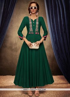 Add the feel of feminine elegance by this green rayon party wear kurti. The ethnic embroidered work over a attire adds a sign of elegance statement with your look. (Slight variation in color, fabric &. Long Anarkali, Anarkali Kurti, Kurti Collection, Summer Collection, Indian Gowns, Indian Lehenga, Kurti Designs Party Wear, Designer Gowns, Designer Kurtis