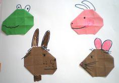 hoofd van Kikker, varken, haas en rat 16 vierkantjes en hoeken naar binnen vouwen. Frog Theme Preschool, Crafts For Kids, Diy Crafts, Preschool Lessons, Winter Theme, Crowns, Paper, Crafts For Children, Kids Arts And Crafts