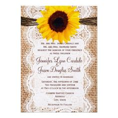 Rustic Burlap Lace Twine Sunflower Invites @Maddie Brinkley so cute for your bridal shower.