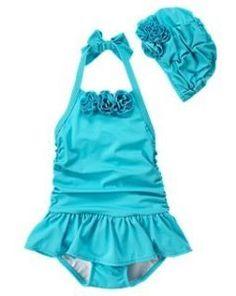 Turquoise swim suit and cap.