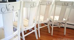 The Ironstone Nest: Farmhouse Chairs - these look just like my kitchen chairs, except mine aren't painted....hmmmm