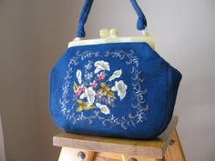 Vintage Needlepoint Handbag Purse from the 60s by by 502Vintage