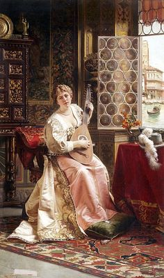 ♪ The Musical Arts ♪ music musician paintings - Charles Joseph Frederick Soulacroix | The Serenade