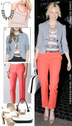 Outfit Idea for recreating Elizabeth Banks' look. Cute!