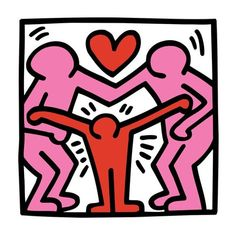 Canvas Art, Keith Haring, Famlily Love, Original Printed On Canvas, Without Frame