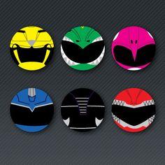 Power Rangers Button Set by randomnoisesshop on Etsy, $7.00