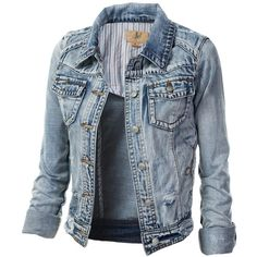 9XIS Womens Denim Jacket ($25) ❤ liked on Polyvore featuring outerwear, jackets, tops, coats, cropped denim jacket, cropped jean jacket, distressed denim jacket, long jean jacket and lightweight cotton jacket