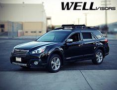 WellVisors Side Rain Guard Window Visors Deflectors With Chrome Trim For 10-14 Subaru Outback 2010 2011 2012 2013 2014