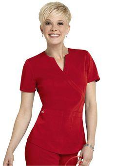 NrG by Barco mock-wrap scrub top. - Scrubs and Beyond Vet Scrubs, Dental Scrubs, Medical Scrubs, Nursing Scrubs, Cute Scrubs Uniform, Scrubs Outfit, Scrubs Pattern, Beauty Uniforms, Stylish Scrubs