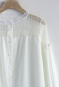 Puff Sleeves Lace Shoulder Top in White