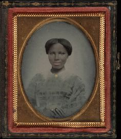 +~+~ Antique Photograph ~+~+ Young African American Woman with blue gingham dress and gold tinted jewelry. ca. 1860