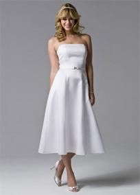 Elegant tea-length dress in a flattering A-line silhouette with princess seams.   Strapless to accentuate neck and shoulders.  Made of rich bridal satin for a beautiful drape and shape.  Accented with a satin belt featuring jeweled clasp at center front.  Fully lined. Back zip. Imported polyester. Dry clean only.  Available in White.  To protect your dress, try our Non Woven Garment Bag.