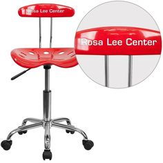 iHome Brittany Personalized Red & Chrome Swivel Home/Office Task Chair w/Tractor Seat