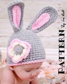 Crochet Easter Bunny Rabbit Hat PDF Pattern