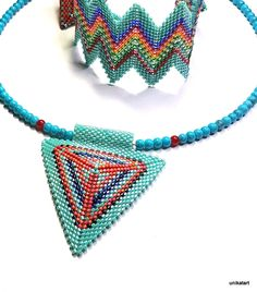 necklace-handcrafted-handmade-jewellery-Beadwork Jewelry, Geometric Necklace, Bead Jewelry, Gold Statement Necklace, Triangle,Bead Art Jewelry-