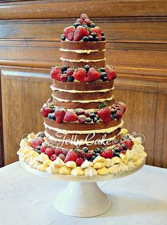 Naked Wedding Cake with Meringues by www.jellycake.co.uk, via Flickr