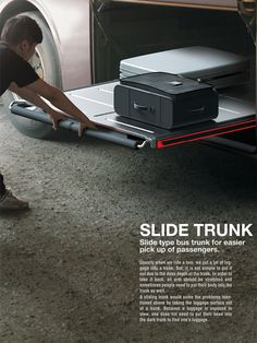 Slide Trunk – Luggage Slide Tray for Buses slides out allowing for easy access to load and store luggage. #travel #storage #YankoDesign