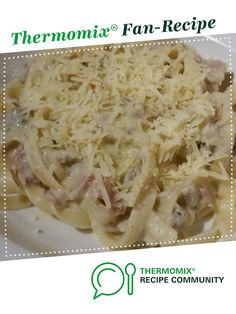 Recipe Creamy Bacon Carbonara by learn to make this recipe easily in your kitchen machine and discover other Thermomix recipes in Pasta & rice dishes. Creamy Bacon Carbonara, Chicken And Bacon Carbonara, Creamy Tuna Pasta, Pasta Carbonara, Rice Dishes, Pasta Dishes
