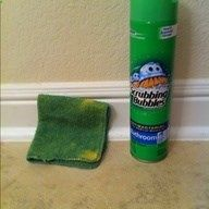 Clean baseboards with Scrubbing Bubbles. Spray on, wipe off. It doesnt remove the paint! Just in time for spring cleaning