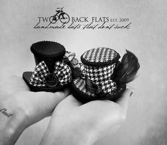 Clip on houndstooth tweed mini top hat, christmas fascinators, new years headband, classic hair piece top hats, holiday party, glam gifts