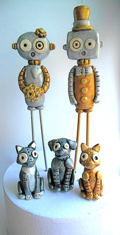 Silver and Gold Robots in Love Wedding Cake by indigotwinweddings, $75.00