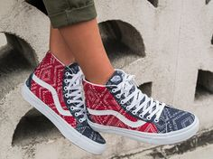 Red, White and Blue: The Ditsy Bandana Sk8-Hi Reissue.