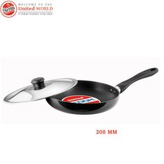 #United_Ucook_Hard_Anodised induction base Frying Pan with glass Lid 200mm India's top leading and selling #pressure_cooker_and_cookware brand has launched its new United Ucook non-stick cookware set with induction base.