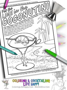 Instant Download AdultColoring Page Put The Lime In Coconut Tiki