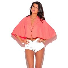 Sheer Chiffon Cape Crop Blazer This she can stylish craft keep blazer is a unique addition to any girls wardrobe will make you a trendsetter instantly! He's cute blazer features poncho style sleeves, antique silver button closures, and made of slightly sheer chiffon that's feminine and sexy. Wait over a Cami for work, or throw it over mini dress for acute party outfit. I'm lines. 100% polyester. Made in USA. 2⃣available Jackets & Coats Capes