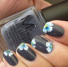 Polishinfatuated's one stroke flower nail art. Used: Misa Office Polish-tics, then used acrylic paint for the flowers.