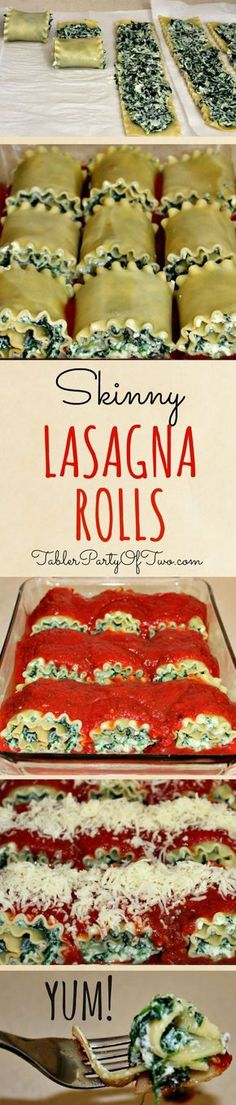 """Skinny Lasagna Rolls are a really easy recipe to make for dinner and are a """"no-guilt"""" way to enjoy the guilty pleasure of pasta! Have one lasagna roll up with a side of salad for a perfectly healthy pasta dinner! Veggie Recipes, Vegetarian Recipes, Healthy Recipes, Lasagna Recipes, Recipes Dinner, Spinach Recipes, Healthy Snacks, Basil Recipes, Vegetarian Lifestyle"""