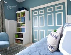 Here's one idea for the girls closet doors. Paint a coordinating color with their bedding and then frame out with white trim.