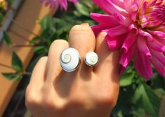 Shiva Eye Double Circle Ring, 925 Silver Ring, Hallmarked, Sterling Silver Shiva Eye Shell Large Statement Ring, Gifts for Her, Quirky Gifts