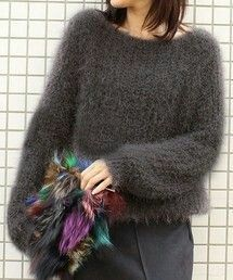 """tango1999-blog: """"Mohair sweater """" Mohair Yarn, Mohair Sweater, Knitwear Fashion, Knit Fashion, Girls Sweaters, Cardigans For Women, Gros Pull Mohair, Knit Patterns, Stylish Outfits"""