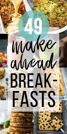 Reduce your morning stress with these 49 healthy make ahead breakfast recipes that are perfect for stocking up your fridge or freezer! With smoothies, eggs, oatmeal, and more, these breakfasts are going to start your Healthy Make Ahead Breakfast, Breakfast On The Go, Make Ahead Meals, Morning Breakfast, Best Breakfast, Breakfast Recipes With Eggs, Healthy Breakfasts, Sweet Potato Waffles, Sweet Potato Breakfast