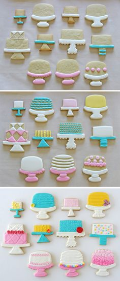 Cake Stand Decorated Cookies~ GloriousTreats.com, Pink, white, Yellow, Blue